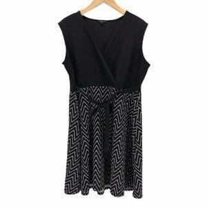 Sami & Jo Faux Wrap Womens Dress Black Sz Plus 2X
